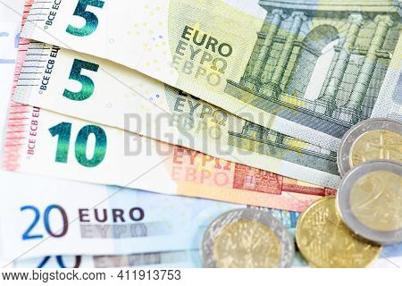 Financial Background - Close-up Of A Many Different Euro Money In Close-up