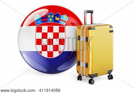 Suitcase With Croatian Flag. Croatia Travel Concept, 3d Rendering Isolated On White Background