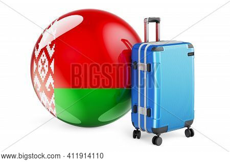 Suitcase With Belarusian Flag. Belarus Travel Concept, 3d Rendering Isolated On White Background