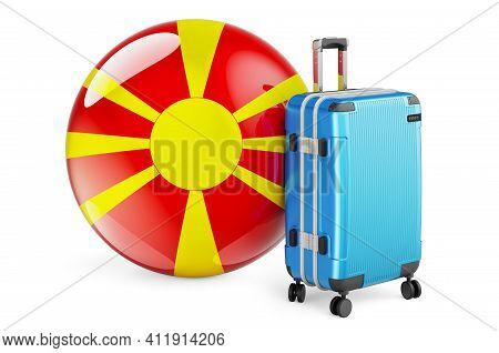 Suitcase With Macedonian Flag. Macedonia Travel Concept, 3d Rendering Isolated On White Background