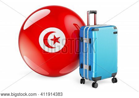 Suitcase With Tunisian Flag. Tunisia Travel Concept, 3d Rendering Isolated On White Background