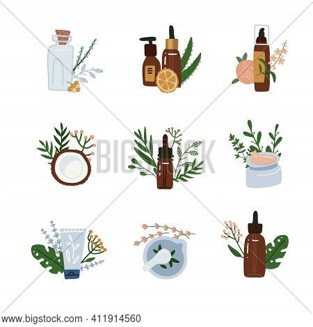Natural Cosmetics Compositions Set. Skincare And Healthcare, Natural Pharmacological Products Organi