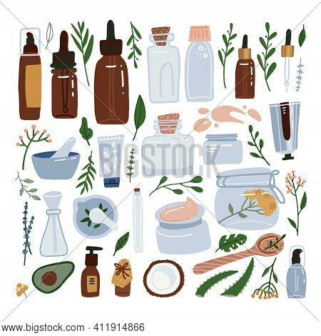 Organic Cosmetic Packaging Big Set - Bottles, Glass Jars, Tubes. Herbal Cosmetics Collection. Woman
