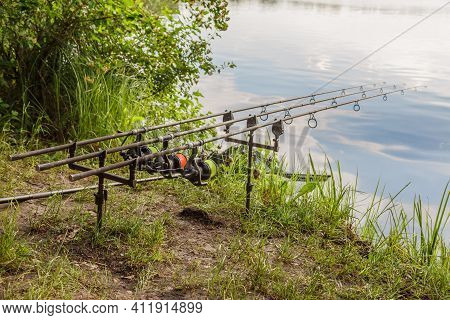 Carpfishing Session At The Lake.carp Angling Scenic Landscape Overlooking Lake At Dawn.fishing Adven