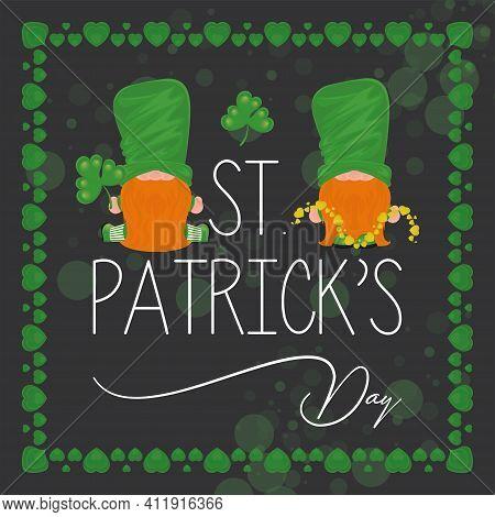Irish Elfs Cartoon. Saint Patricks Day Card - Vector