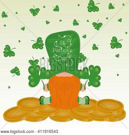 Irish Elf Cartoon With Gold Coins And Clovers. Saint Patricks Day Card - Vector