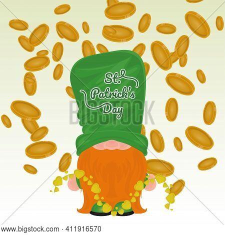 Irish Elf Cartoon With Gold Coins. Saint Patricks Day Card - Vector