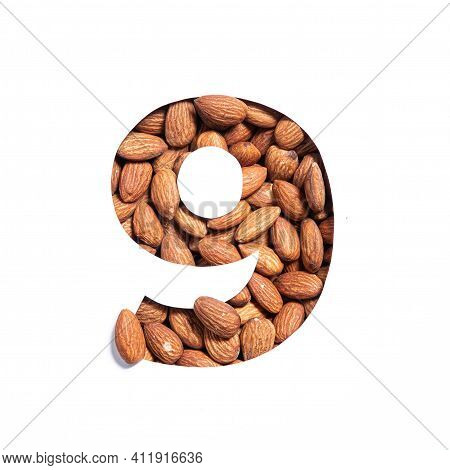 Number Nine Made Of Nuts And Paper Cut In Shape Of Ninth Numeral Isolated On White. Typeface Of Almo