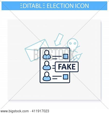 Fake Ballot Line Icon. Empty Fraud Form Or Checklist. Choice, Vote Concept. Democracy. Parliamentary