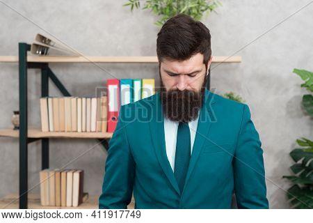 Overtime Work. Confident Brutal Man. Business Overtime. Modern Businessman. Bearded Man. Mature Hips