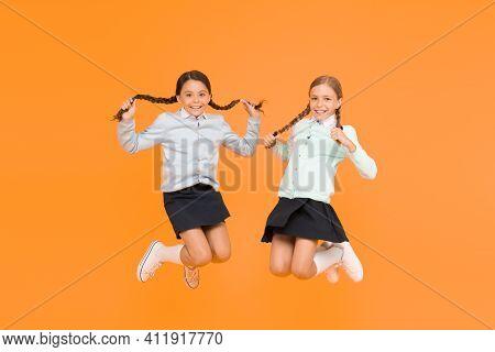 Secondary School. Kids Cute Students. Schoolgirls Best Friends Excellent Pupils. Schoolgirls Tidy Ap