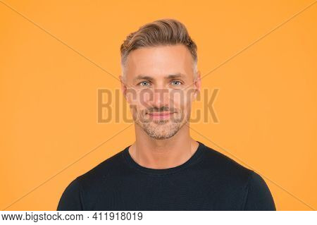 Skincare Line For Extremely Mature Skin. Handsome Middle Age Man Yellow Background. Unshaven Face Sk