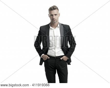 Building Stylish Wardrobe. Businessman Wear Suit Isolated On White. Capsule Wardrobe. Essential Clot