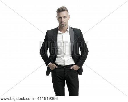 Building Stylish Wardrobe. Businessman Wear Suit Isolated On White. Capsule Wardrobe. Essential Clot