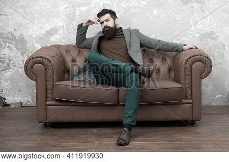 Loft Interior Apartment. Businessman Realtor Work. Furniture Shop. Hipster Realtor Loft Style Apartm