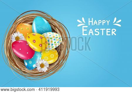 Easter Poster Template Set With 3d Realistic Easter Eggs In Nest. Template For Advertising, Poster,