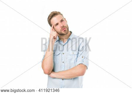 Think To Solve. Man With Bristle Serious Face Thinking White Background. Thoughtful Mood Concept. Ma