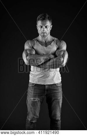 Strengthen Your Confidence. Confident Man Keep Arms Crossed Black Background. Confident Look Of Musc