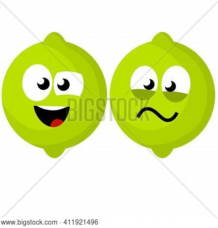 Cartoon Flat Illustration. Lemon And Face With Face. Eyes, Mouth On Sour Fruit.