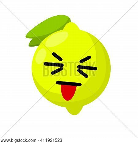 Lemon With Face. Eyes, Mouth On Sour Fruit. Mascot And Emotions. Funny And Cute Yellow Element With