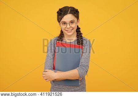 Cute Smiling Schoolgirl. Girl Little Schoolgirl. Pupil With Braids Going To School. Schoolgirl Daily