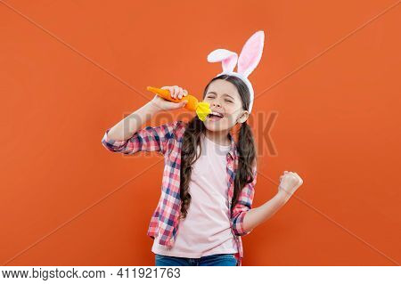 Easter Spring Holiday. Happy Teen Girl Singer Wear Bunny Ears. Happy Easter. Childhood Happiness. Ch