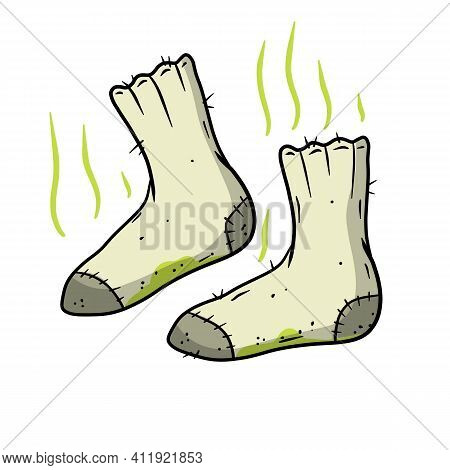 Stinky Toe. Grey Object For Washing. Cartoon Flat Illustration. Green Wave. The Bad Stench