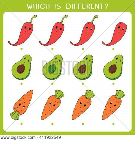 Simple Logic Game For Kids. Find The Odd One In The Group. Vector Worksheet