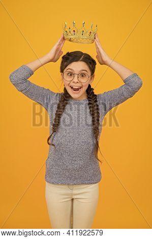Long Awaited Reward. Little Smart Girl Wear Eyeglasses. Clever Child. Cute Adorable Girl In Glasses.
