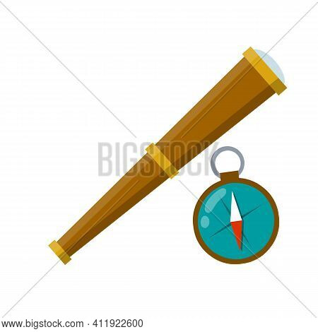 Telescope, Compass. Retro Objects For Research. Cartoon Flat Illustration. Search For Pirate Treasur