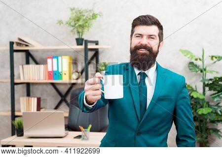 Drinking Coffee Relaxing Break. Boss Enjoying Energy Drink. Successful People Drink Coffee. Caffeine