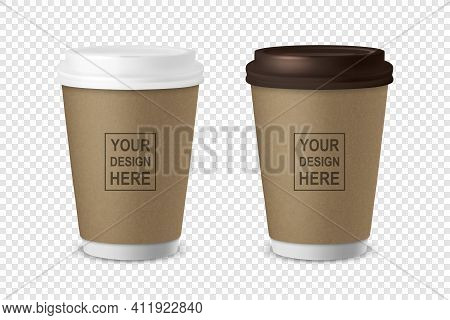 Vector 3d Realistic Paper Or Plastic Brown Disposable Tea, Coffee Cup Set With White And Brown Lid I