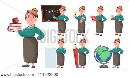 Stock Vector Happy Smiling Middle Aged Woman Teacher, Set Of Eight Poses. Smiling Lady Teacher Carto
