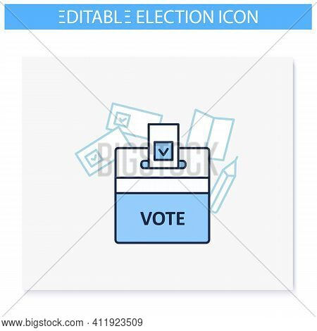 Vote Box Line Icon. Voting Form With Check Mark In Ballot Box. Choice, Vote Concept. Democracy. Parl