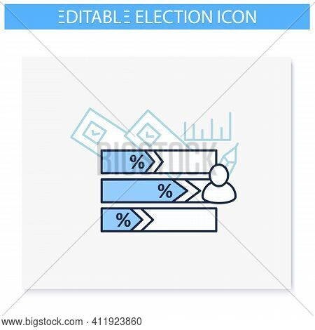 Voting Results Line Icon.election Win, Candidate Result Histogram.vote Percentage.choice, Vote Conce