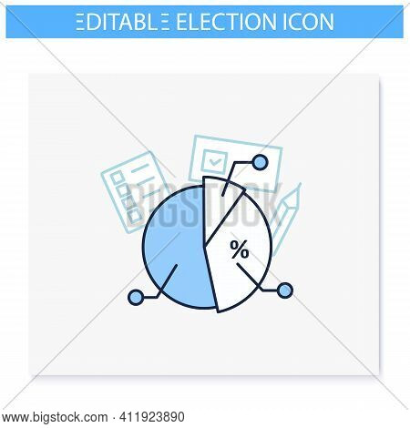 Voting Poll Line Icon. Candidates Rating Pie Chart.electoral Infographics.vote Percentage.vote Conce