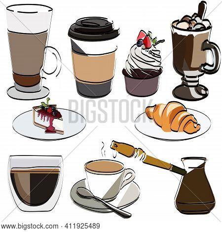 Set Is Coffee. Coffee For Breakfast. Cappuccino, Espresso, Cocoa, Hot Chocolate, For Coffee, Croissa