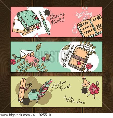 Diary Nostalgia Memo Notebook Vintage Horizontal Sketch Banners Set Isolated Vector Illustration