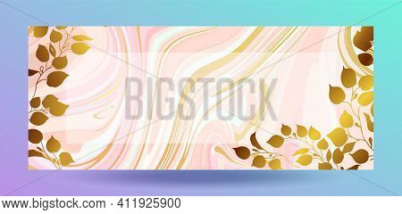 Gold Marble Design. Gilded Leaves And Branches. A Beautiful Combination Of Pink Marble And Gold. For