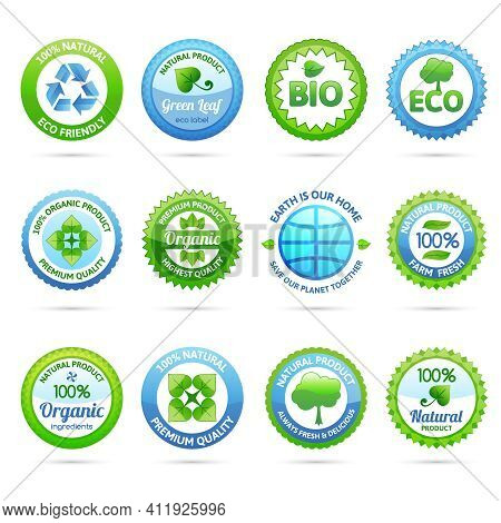 Ecology Eco Friendly Natural Organic Products Paper Labels Set Isolated Vector Illustration