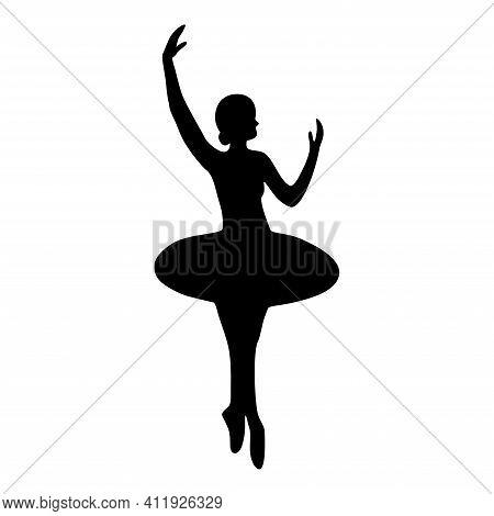 Dance Girl Silhouette Isolated On White Background. Ballerina. Ballet Banner. Vector Illustration. B