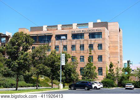 IRVINE, CALIFORNIA - 22 APRIL 2020:  The Sue and Bill Gross Hall on the Campus UCI. A CIRM Institute, California Institute for Regenerative Medicine.