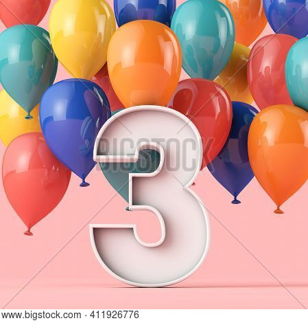 Happy 3rd Birthday Background With Colourful Balloons. 3d Rendering