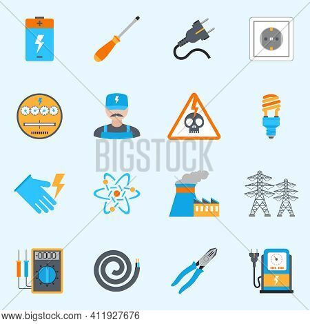 Electricity Icons Set With Voltmeter Wire Screwdriver Electrician Warning Sign Isolated Vector Illus
