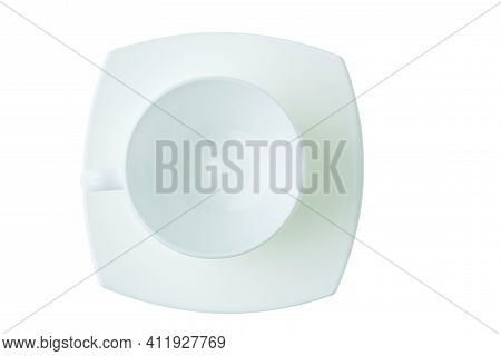 Close Up Top View Set Of Porcelain White Crockery For Coffee Isolated On White Background. Healthy F