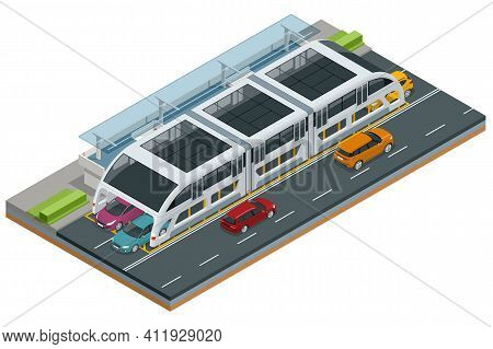Isometric Transit Elevated Bus In China. Straddling Bus, Straddle Bus, Land Airbus, Or Tunnel Bus Ro