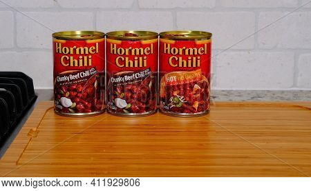 Three Cans Of Hormel Chili Chunky Beef, And Hot With No Beans For Illustrative Editorial