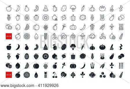 Set Of Vector Icons. Vegetables, Fruits And Berries. Black Isolated Silhouette. Fill Solid Icon, Gly