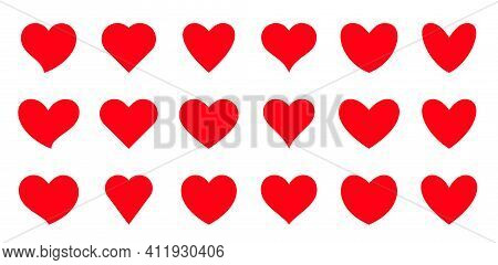 Red Hearts Flat Set. Love, Valentine, Romantic, February, Wedding, Amour, Passion Or Health Symbol.