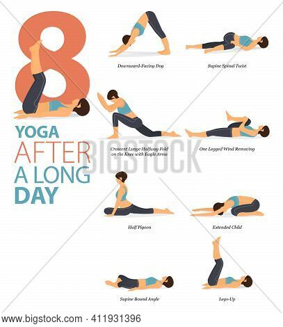 Infographic 8 Yoga Poses For Workout In Concept Of After A Long Day In Flat Design. Women Exercising